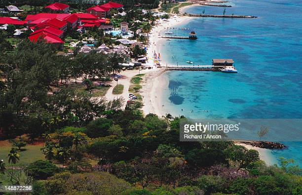 Resort & beach from Pigeon Island National Park .