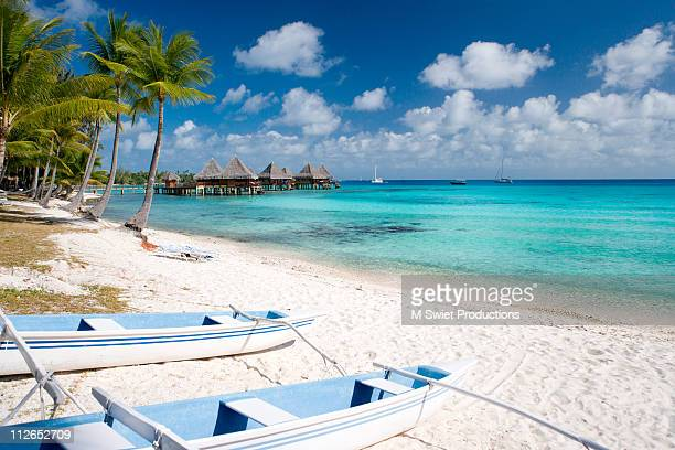 resort bungalows paradise tahiti - french polynesia stock pictures, royalty-free photos & images
