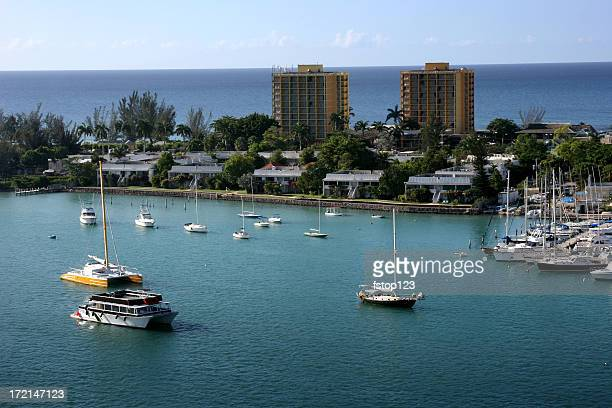 resort city hotels overlooking bay and ocean - montego bay stock pictures, royalty-free photos & images