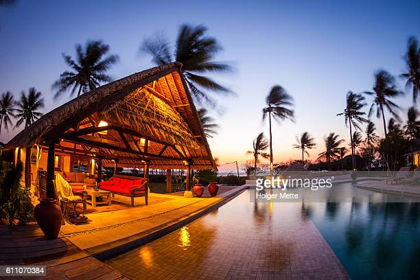 resort in gili islands in lombok, indonesia - gili trawangan stock photos and pictures