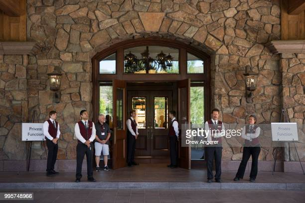 Resort staff members wait for guests to arrive at the Sun Valley Resort for the annual Allen Company Sun Valley Conference July 10 2018 in Sun Valley...