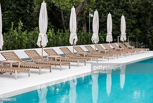 Resort swimming pool and lounge chairs