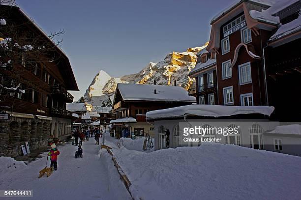 Resort town Mürren, Bernese alps, Switzerland