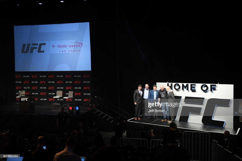 MGM Resorts International Senior Vice President Rick Arpin, AEG President and CEO Dan Beckerman, MGM Resorts International President Bill Hornbuckle, UFC President Dana White and AEG Chief Revenue Officer Todd Goldstein unveil the new Las Vegas Home of UFC during the UFC press conference at T-Mobile arena on March 3, 2017 in Las Vegas, Nevada.
