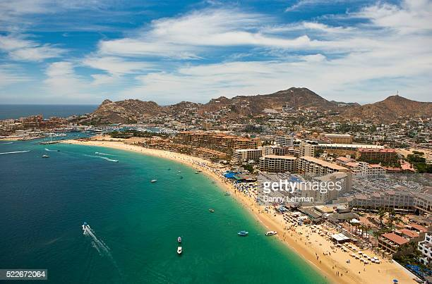 Resorts line Medano Beach at Cabo San Lucas