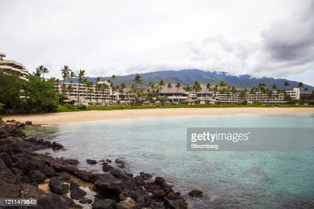 Resorts stand temporarily closed around Kaanapali Beach in Lahaina, Hawaii, U.S., on Friday, April 24, 2020. Tourism makes up one-fifth of Hawaii's...