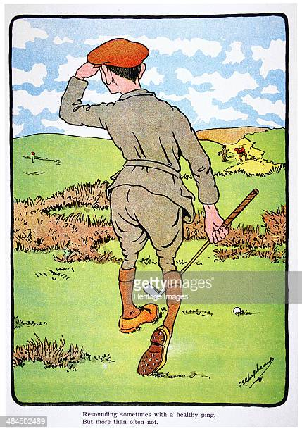 Resounding sometimes with a healthy ping but more than often not Golfing postcard c1920s