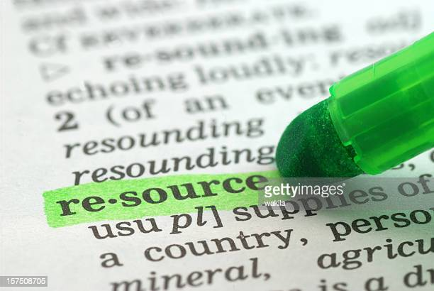 resource highligted in dictionary