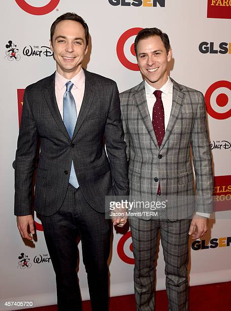 Respect Honorary Co-Chair Jim Parsons and Todd Spiewak attend the 10th annual GLSEN Respect Awards at the Regent Beverly Wilshire Hotel on October...