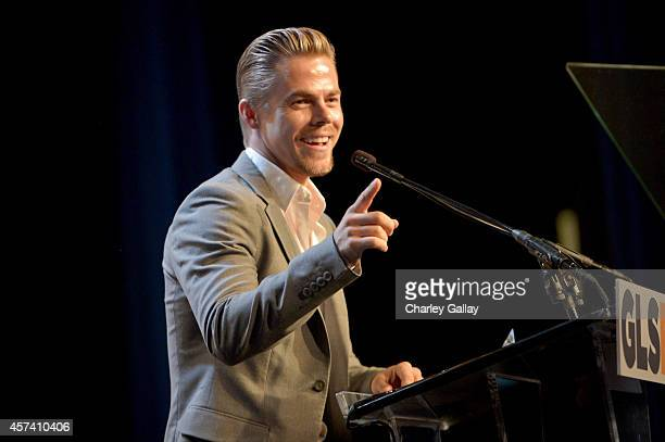 Respect Inspiration Award recipient Derek Hough speaks onstage at the 10th annual GLSEN Respect Awards at the Regent Beverly Wilshire Hotel on...