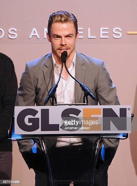 Respect Inspiration Award recipient Derek Hough speaks onstage during the 10th annual GLSEN Respect Awards at the Regent Beverly Wilshire Hotel on...