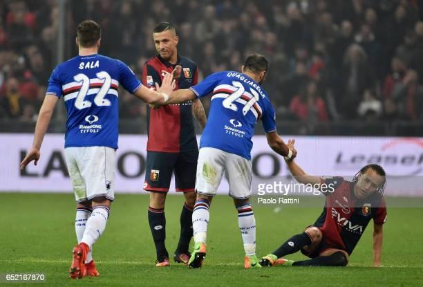 Respect Jacopo Sala and Fabio Quagliarella of Sampdoria with Armando Izzo and Diego Laxalt of Genoa during the Serie A match between Genoa CFC and UC...