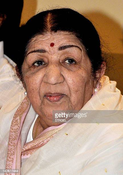 Respected legendary Bollywood playback singer Lata Mangeshkar poses during a press conference to announce the award function of her father's...