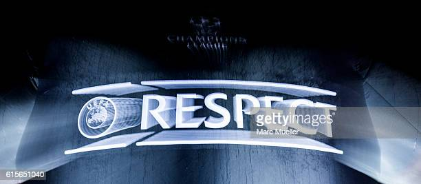 'Respect'Logo is seen in front of the stadion before the UEFA Champions League group D match between Bayern Munich and PSV Eindhoven at Allianz Arena...
