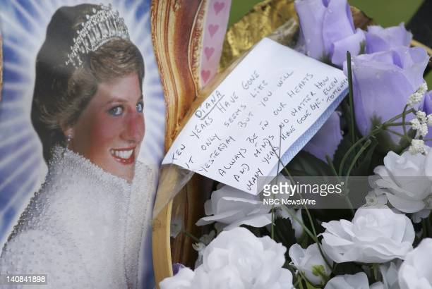 NBC NEWS Respects are paid to Princess Diana on the tenth anniversary of her August 311997 death at Kensington Palace in London England on August 29...