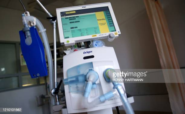 A respirator is seen in the intensive care unit of the community hospital in Magdeburg eastern Germany on April 16 2020 during the novel coronavirus...