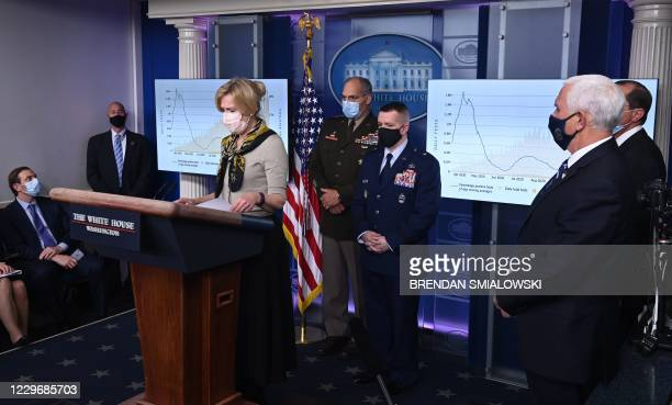 Response coordinator for White House Coronavirus Task Force Deborah Birx speaks as Vice President Mike Pence and US Secretary of Health and Human...