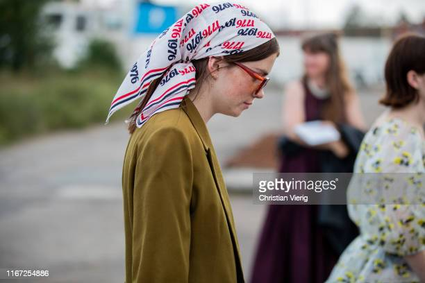 Resse Blutstein wearing headscarf seen outside Cecilie Bahnsen during Copenhagen Fashion Week Spring/Summer 2020 on August 07 2019 in Copenhagen...