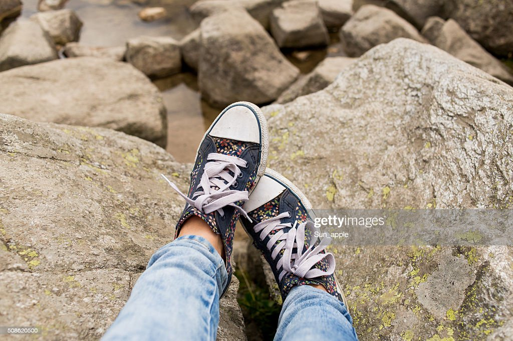 Rest and recreation on rocks in summer : Stock Photo