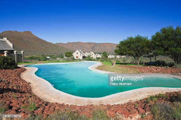 rest camp and swimming pool, karoo national park, cape province, south africa - the karoo stock photos and pictures