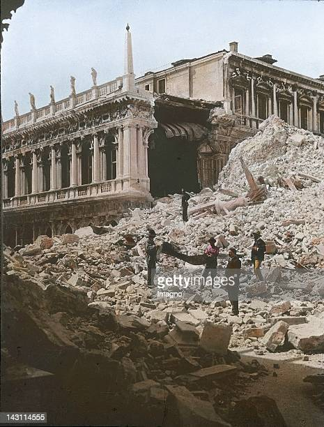 Rest of the Campanile which collapsed on 14 July 1902 In the background the partly destroyed Old Library San Marco Venice Italy Handcolored lantern...