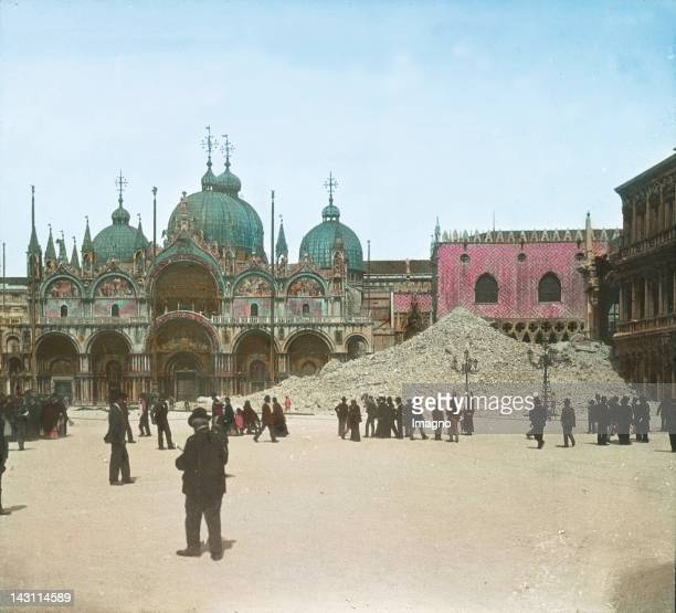 Rest of the Campanile which collapsed on 14 July 1902 In the background the St Mark's Basilica and the Doge's Palace San Marco Venice Italy...
