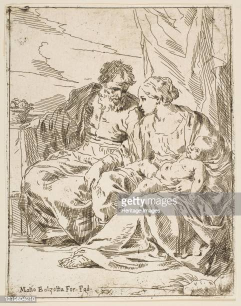Rest on the flight into Egypt, Mary holding the infant Christ while St. Joseph points into the distance, copy after Cantarini, circa 1637-1639 or...