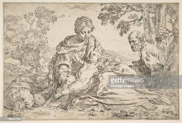 Rest on the flight into Egypt, Mary holding the infant Christ with St. Joseph at right, circa 1640. Artist Simone Cantarini.