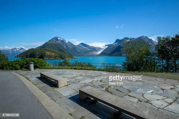 Rest stop at Braset - View to the glacier Engenbreen/Svartisen, Norway
