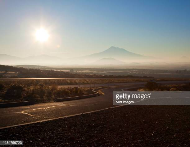 rest stop on-ramp on i-5 highway - mt shasta stock pictures, royalty-free photos & images