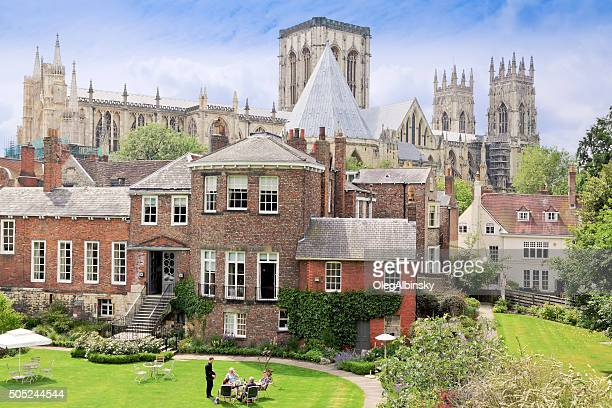 restaraunt and york minster cathedral, york, england, uk. - york yorkshire stock pictures, royalty-free photos & images