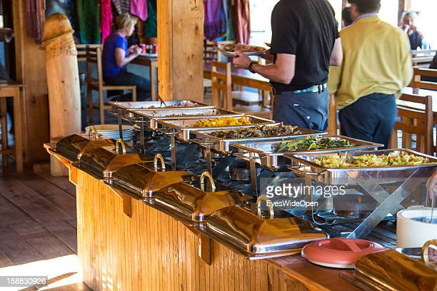Restaurant and buffet in the village Chimi Lhakhang in the Punakha Valley with its temple monastery is renowned for its fertility blessings phallus...