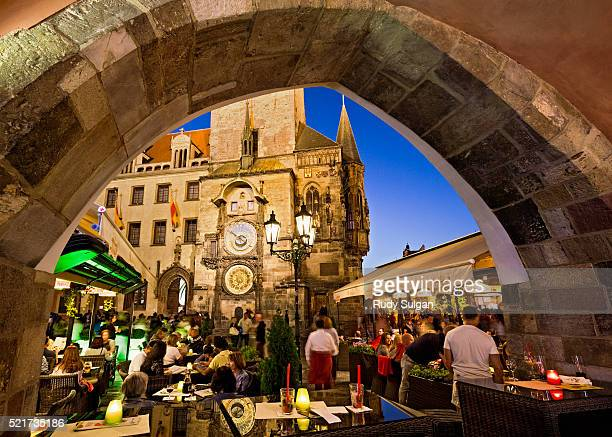Restaurant and Old Town Hall Tower in Prague