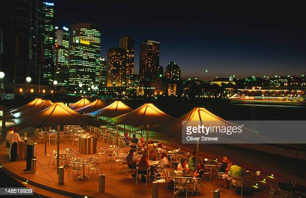Restaurant at night on foreshore.