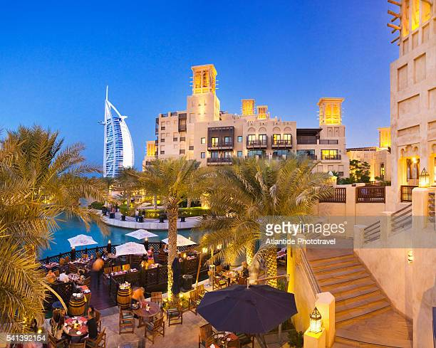 Restaurant at Souk Madinat Jumeirah with Burj al Arab in Background