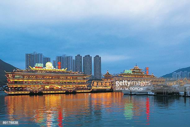 Restaurant at the waterfront Jumbo Floating Restaurant Shum Wan Harbor Hong Kong Island Hong Kong China