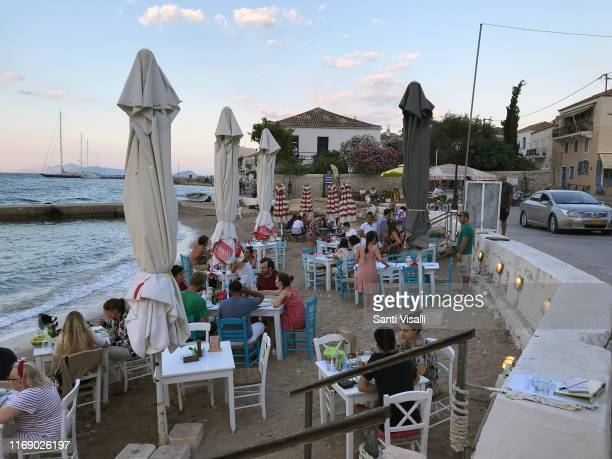 Restaurant by the beach on June 29, 2019 in Spetses, Greece.