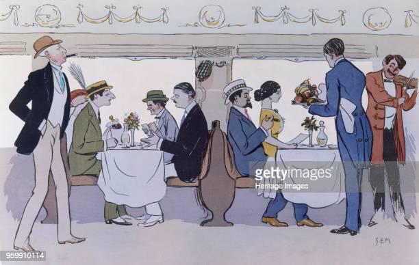 Restaurant Car on the Paris to Nice Train pub 1913 colour lithograph