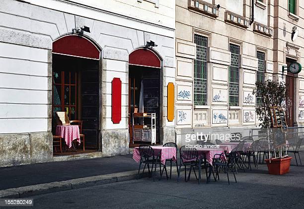 restaurant. color image - café bar gebouw stockfoto's en -beelden