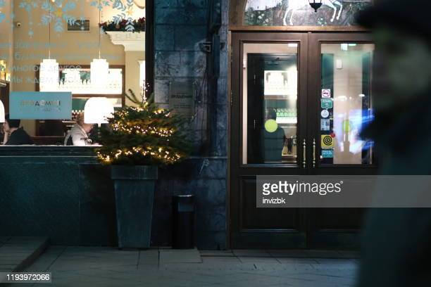 restaurant entrance - moscow russia stock pictures, royalty-free photos & images