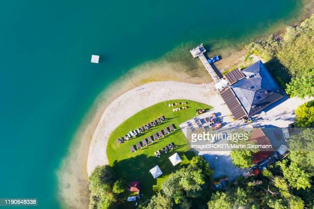 restaurant faehrhuette near rottach-egern, tegernsee, aerial view, upper bavaria, bavaria, germany - tegernsee stock pictures, royalty-free photos & images