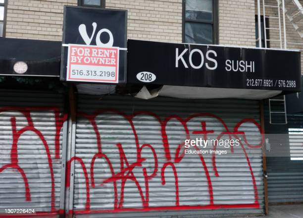 Restaurant for rent by owner sign during pandemic, Manhattan, New York.