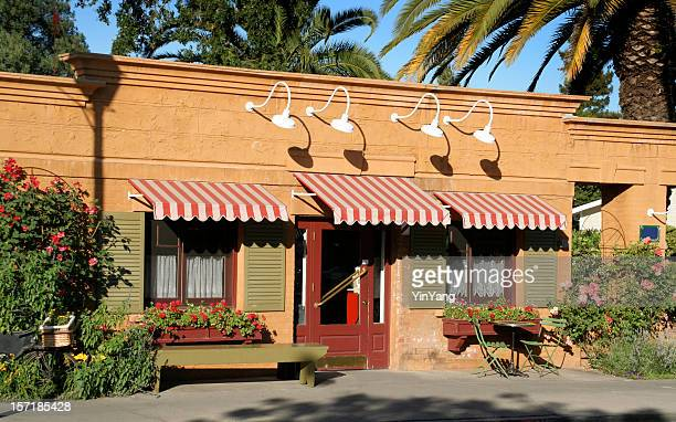 Restaurant French Bistro Cafe Building with Awning in Small Town