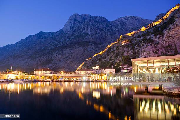 Restaurant Galion, marina & fortifications at dusk.