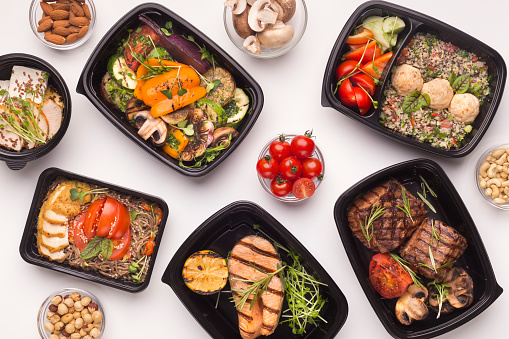 Restaurant healthy food delivery in take away boxes 1165063882