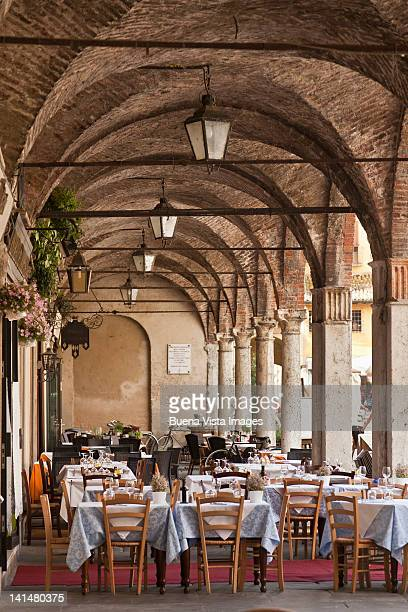 restaurant in a mediaeval palace - mantua stock pictures, royalty-free photos & images