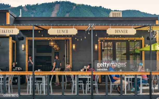 restaurant in downtown jackson wyoming usa - jackson hole stock pictures, royalty-free photos & images