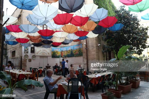 Restaurant in the central Sciacca on June 07, 2018 in Sciacca, Agrigento, Italy.