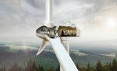 Restaurant inside wind turbine