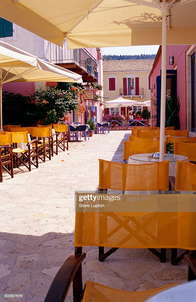 Restaurant Lining Greek Walkway Stock Photo Getty Images